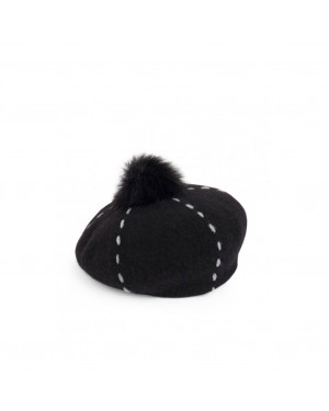 Cappello in Lana | Pia Rossini Carly Beret | CARLYBERETA17A-Black